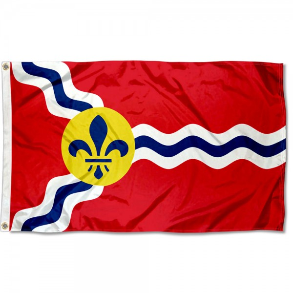 City of St Louis Flag measures 3'x5', is made of 100% poly, has quadruple stitched sewing, two metal grommets, and has double sided City of St Louis logos.