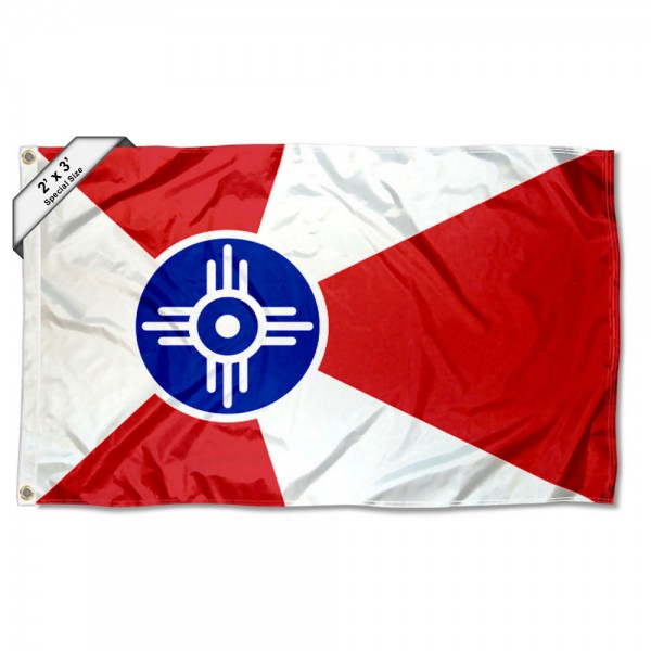 City of Wichita 2x3 Flag measures 2'x3', is made of 100% poly, has quadruple stitched sewing, two metal grommets, and has double sided City of Wichita logos.