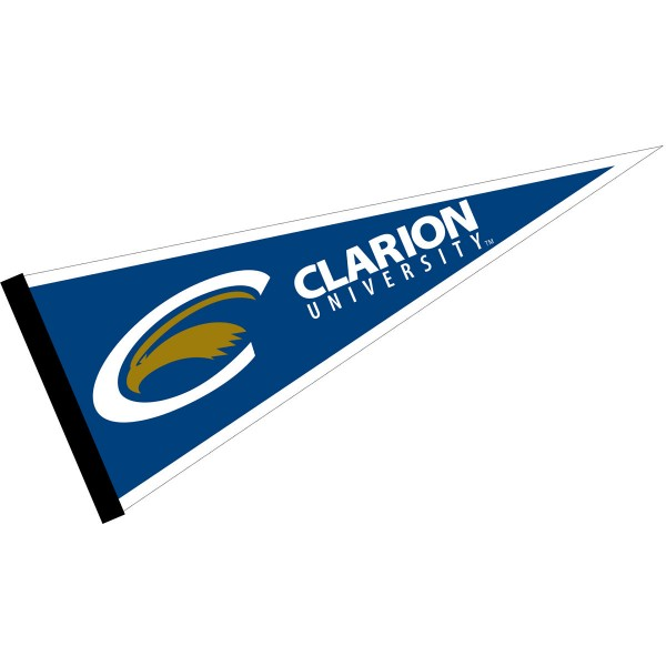 Clarion Golden Eagles Pennant consists of our full size sports pennant which measures 12x30 inches, is constructed of felt, is single sided imprinted, and offers a pennant sleeve for insertion of a pennant stick, if desired. This Clarion Golden Eagles Pennant Decorations is Officially Licensed by the selected university and the NCAA.