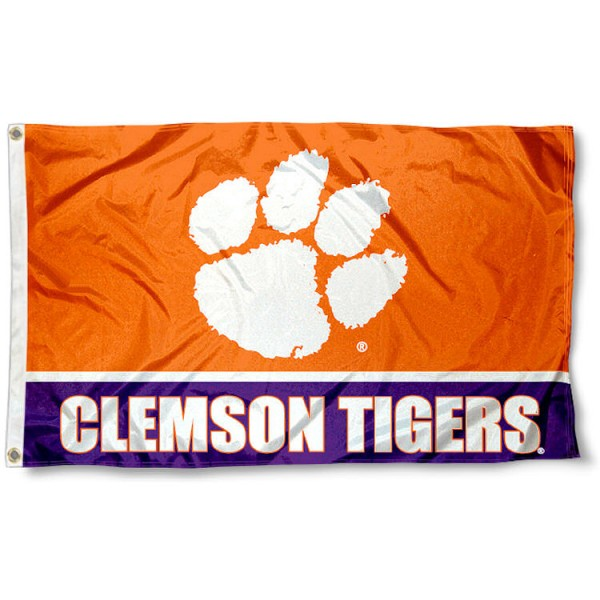 Clemson 3x5 Flag measures 3'x5', is made of 100% poly, has quadruple stitched sewing, two metal grommets, and has double sided Team University logos. Our Clemson 3x5 Flag is officially licensed by the selected university and the NCAA.