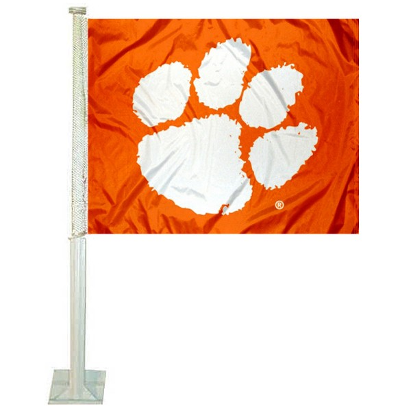 Clemson Car Window Flag measures 12x15 inches, is constructed of sturdy 2 ply polyester, and has screen printed school logos which are readable and viewable correctly on both sides. Clemson Car Window Flag is officially licensed by the NCAA and selected university.