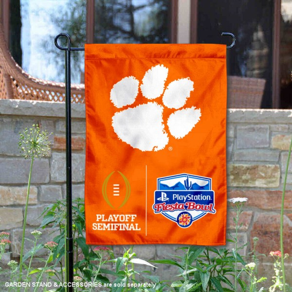Clemson College Football CFP Semifinal Game Garden Flag is 13x18 inches in size, is made of 2-layer polyester, screen printed university athletic logos and lettering, and is readable and viewable correctly on both sides. Available same day shipping, our Clemson College Football CFP Semifinal Game Garden Flag is officially licensed and approved by the university and the NCAA.