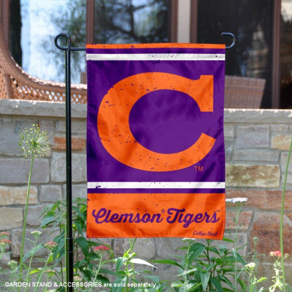 Clemson College Vault Logo Garden Flag is 12.5x18 inches in size, is made of 2-layer polyester, screen printed university athletic logos and lettering, and is readable and viewable correctly on both sides. Available same day shipping, our Clemson College Vault Logo Garden Flag is officially licensed and approved by the university and the NCAA.