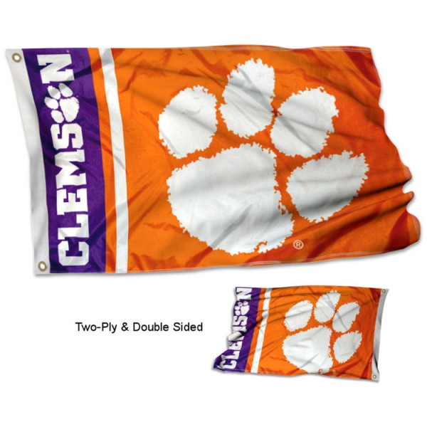 Clemson Double Sided Flag measures 3x5, is made thick 100% polyester, has two stitched flyends for durability, and is readable correctly on both sides. Our Clemson Double Sided Flag is officially licensed by the university, school, and the NCAA.