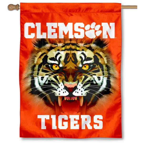 Clemson Eyes Logo House Flag is a vertical house flag which measures 30x40 inches, is made of 2 ply 100% polyester, offers screen printed NCAA team insignias, and has a top pole sleeve to hang vertically. Our Clemson Eyes Logo House Flag is officially licensed by the selected university and the NCAA.