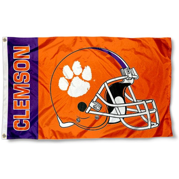 Clemson Football Flag measures 3'x5', is made of 100% poly, has quadruple stitched sewing, two metal grommets, and has double sided Clemson logos. Our Clemson Football Flag is officially licensed by the selected university and the NCAA.