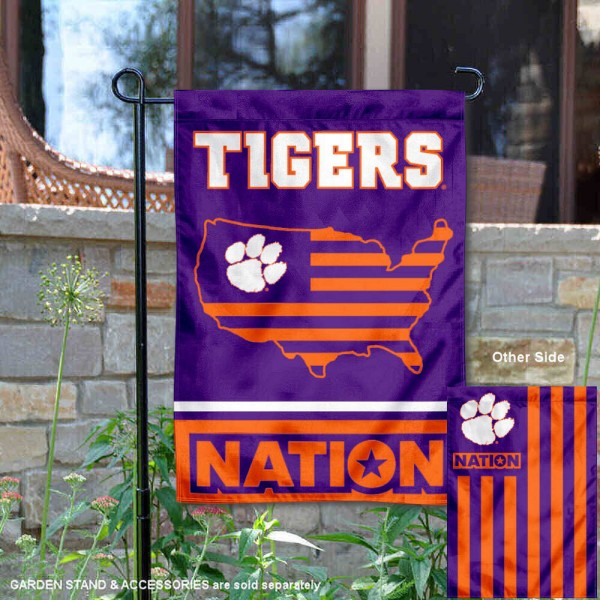 Clemson Garden Flag with USA Country Stars and Stripes is 13x18 inches in size, is made of 2-layer polyester, screen printed logos and lettering. Available with Same Day Express Shipping, Our Nation Yard Flag is officially licensed and approved by the NCAA.