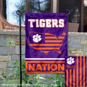 Clemson Garden Flag with USA Country Stars and Stripes