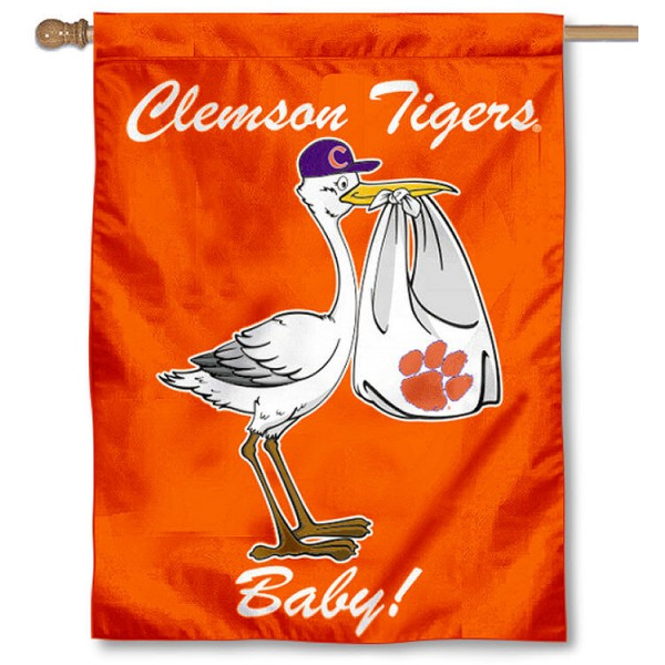 Clemson New Baby Flag measures 30x40 inches, is made of poly, has a top hanging sleeve, and offers dye sublimated Clemson University logos. This Decorative Clemson New Baby House Flag is officially licensed by the NCAA.