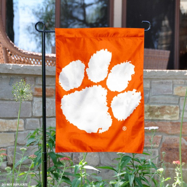 Clemson Primary Logo Garden Flag is 13x18 inches in size, is made of 2-layer polyester, screen printed university athletic logos and lettering, and is readable and viewable correctly on both sides. Available same day shipping, our Clemson Primary Logo Garden Flag is officially licensed and approved by the university and the NCAA.