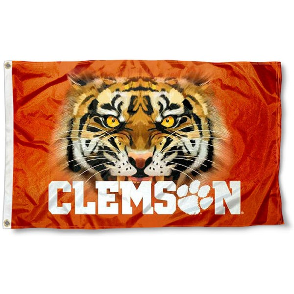 Clemson Tiger Eye Flag measures 3'x5', is made of 100% poly, has quadruple stitched sewing, two metal grommets, and has double sided Team University logos. Our Clemson Tigers 3x5 Flag is officially licensed by the selected university and the NCAA.