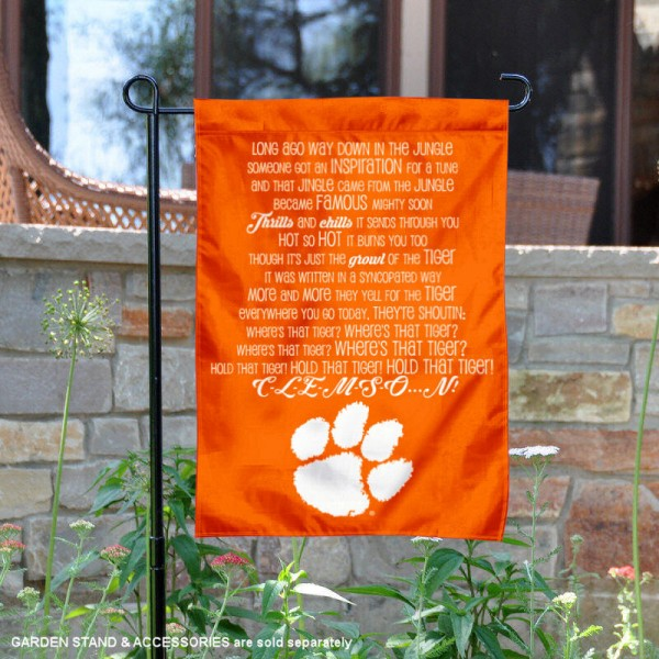 Clemson Tiger Rag Fight Song Garden Flag is 13x18 inches in size, is made of thick blockout polyester, screen printed university athletic logos and lettering, and is readable and viewable correctly on both sides. Available same day shipping, our Clemson Tiger Rag Fight Song Garden Flag is officially licensed and approved by the university and the NCAA.