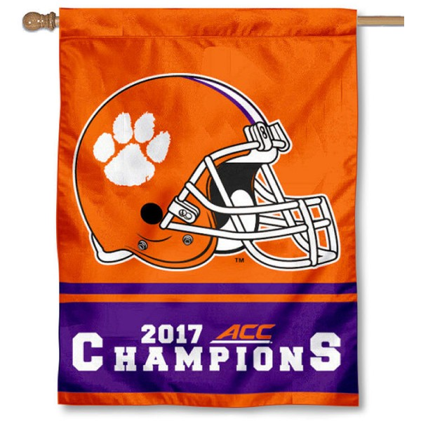 Clemson Tigers 2017 ACC Football Champions House Flag is a vertical house flag which measures 30x40 inches, is made of 2 ply 100% polyester, offers screen printed NCAA team insignias, and has a top pole sleeve to hang vertically. Our Clemson Tigers 2017 ACC Football Champions House Flag is officially licensed by the selected university and the NCAA.