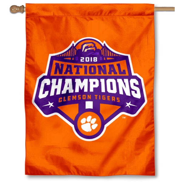 Clemson Tigers 2018 Football National Champions House Flag is a vertical house flag which measures 30x40 inches, is made of 2 ply 100% polyester, offers screen printed NCAA team insignias, and has a top pole sleeve to hang vertically. Our Clemson Tigers 2018 Football National Champions House Flag is officially licensed by the selected university and the NCAA.