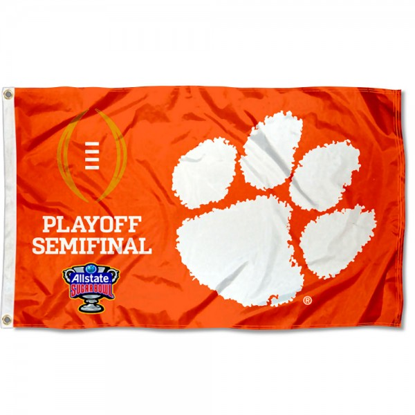 Clemson Tigers 2020 College Football Playoff Flag measures 3x5 feet, is made of 100% polyester, offers quadruple stitched flyends, has two metal grommets, and offers screen printed NCAA team logos and insignias. Our Clemson Tigers 2020 College Football Playoff Flag is officially licensed by the selected university and NCAA.