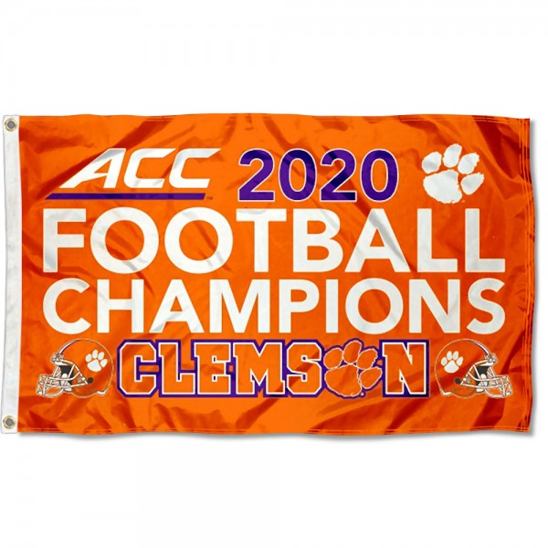 Clemson Tigers 2020 Football Conference Champions Flag measures 3x5 feet, is made of 100% polyester, offers quadruple stitched flyends, has two metal grommets, and offers screen printed NCAA team logos and insignias. Our Clemson Tigers 2020 Football Conference Champions Flag is officially licensed by the selected university and NCAA.