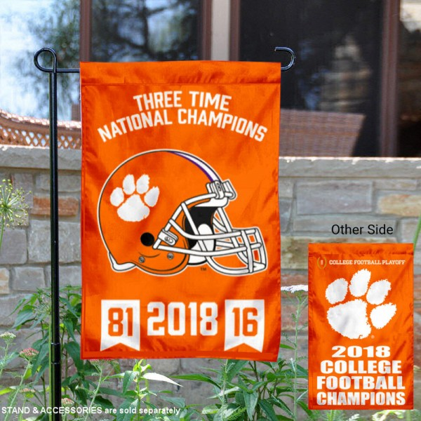 Clemson Tigers 3 Time Champions Garden Flag is 13x20 inches in size, is made of 2-layer polyester, screen printed university athletic logos and lettering, and is readable and viewable correctly on both sides. Available same day shipping, our Clemson Tigers 3 Time Champions Garden Flag is officially licensed and approved by the university and the NCAA.