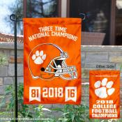 Clemson Tigers 3 Time Champions Garden Flag