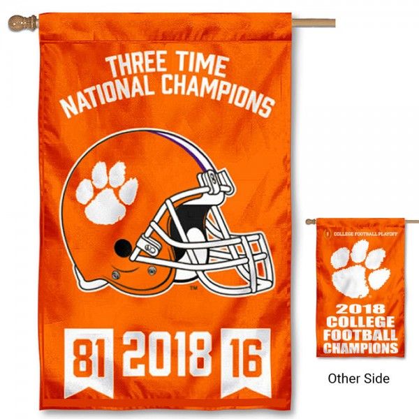Clemson Tigers 3 Time Football National Champions House Flag is a vertical house flag which measures 30x48 inches, is made of 2 ply 100% polyester, offers screen printed NCAA team insignias, and has a top pole sleeve to hang vertically. Our Clemson Tigers 3 Time Football National Champions House Flag is officially licensed by the selected university and the NCAA.