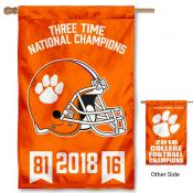 Clemson Tigers 3 Time Football National Champions House Flag
