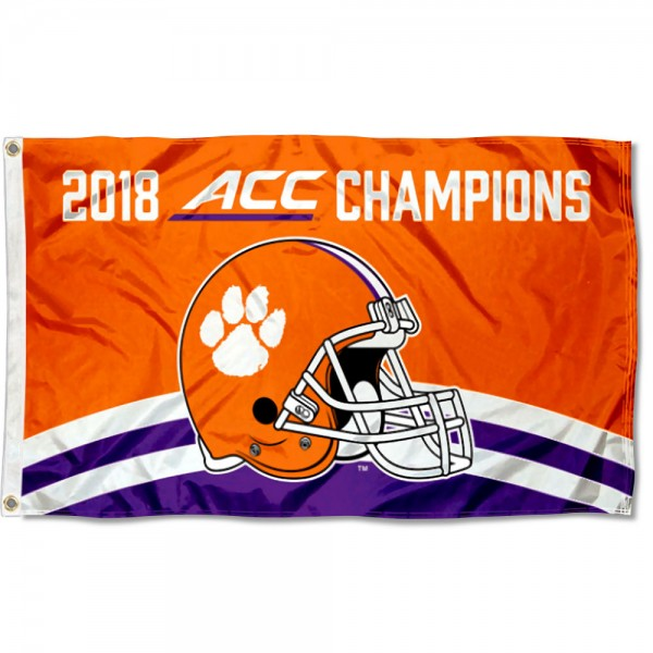 Clemson Tigers ACC 2018 Football Champions Flag measures 3x5 feet, is made of 100% polyester, offers quadruple stitched flyends, has two metal grommets, and offers screen printed NCAA team logos and insignias. Our Clemson Tigers ACC 2018 Football Champions Flag is officially licensed by the selected university and NCAA.