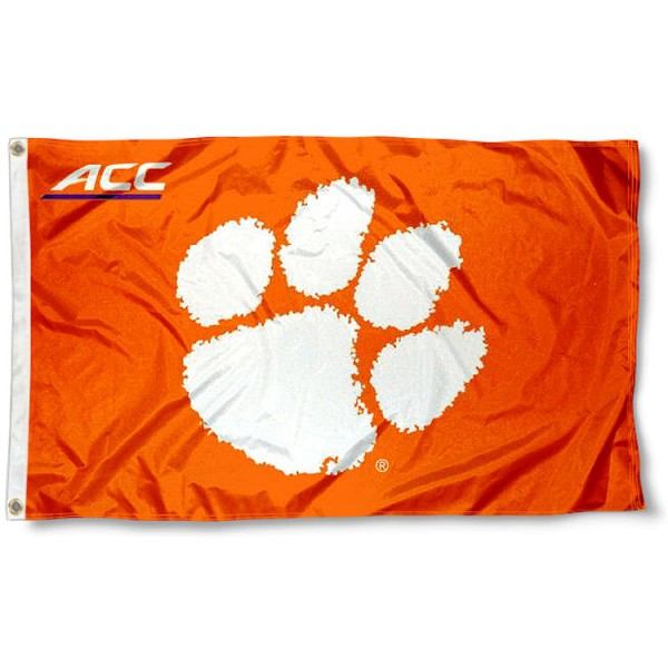 Clemson Tigers ACC Flag measures 3'x5', is made of 100% poly, has quadruple stitched sewing, two metal grommets, and has double sided Team University logos. Our Clemson Tigers ACC Flag is officially licensed by the selected university and the NCAA.