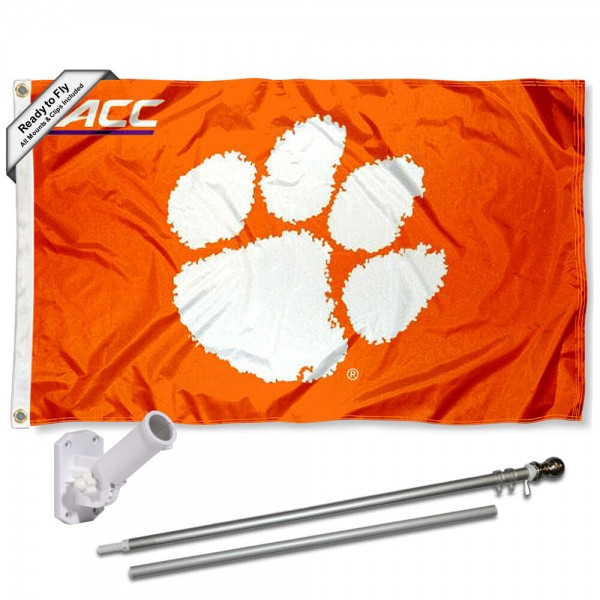 Our Clemson Tigers ACC Flag Pole and Bracket Kit includes the flag as shown and the recommended flagpole and flag bracket. The flag is made of polyester, has quad-stitched flyends, and the NCAA Licensed team logos are double sided screen printed. The flagpole and bracket are made of rust proof aluminum and includes all hardware so this kit is ready to install and fly.
