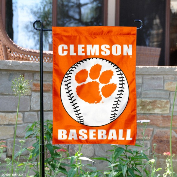 Clemson Tigers Baseball Team Garden Flag is 13x18 inches in size, is made of 2-layer polyester, screen printed Clemson University Baseball athletic logos and lettering. Available with Express Shipping, Our Clemson Tigers Baseball Team Garden Flag is officially licensed and approved by Clemson University Baseball and the NCAA.