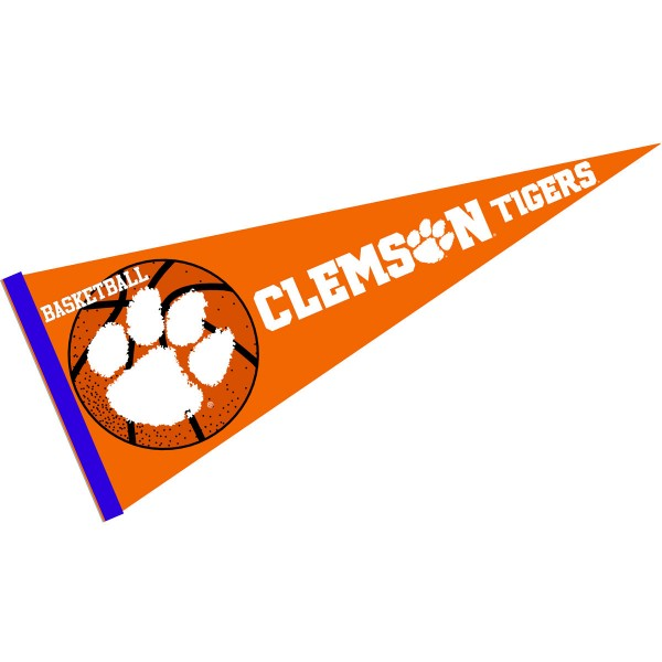 Clemson Tigers Basketball Pennant consists of our full size sports pennant which measures 12x30 inches, is constructed of felt, is single sided imprinted, and offers a pennant sleeve for insertion of a pennant stick, if desired. This Clemson Tigers Pennant Decorations is Officially Licensed by the selected university and the NCAA.