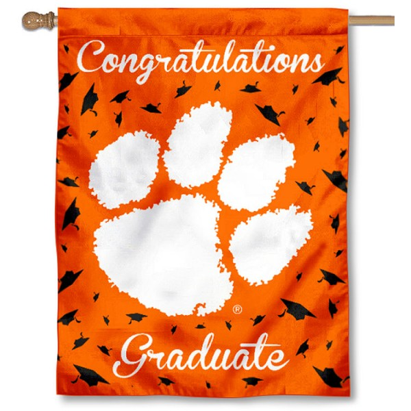 Clemson Tigers Congratulations Graduate Flag measures 30x40 inches, is made of poly, has a top hanging sleeve, and offers dye sublimated Clemson Tigers logos. This Decorative Clemson Tigers Congratulations Graduate House Flag is officially licensed by the NCAA.