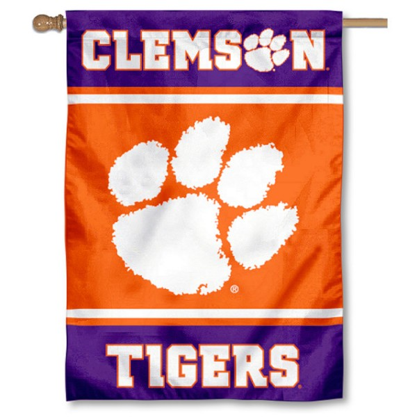 Clemson Tigers Double Sided Banner is a vertical house flag which measures 28x40 inches, is made of 2 ply 100% nylon, offers screen printed NCAA team insignias, and has a top pole sleeve to hang vertically. Our Clemson Tigers Double Sided Banner is officially licensed by the selected university and the NCAA.