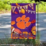 Clemson Tigers Fall Football Autumn Leaves Decorative Garden Flag