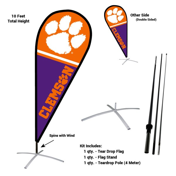 Clemson Tigers Feather Flag Kit measures a tall 10' when fully assembled. The kit includes a Feather Flag, 3 Piece Fiberglass Pole, and matching Metal Feather Flag Stand. Our Clemson Tigers Feather Flag Kit easily assembles and is NCAA Officially Licensed by the selected school or university.