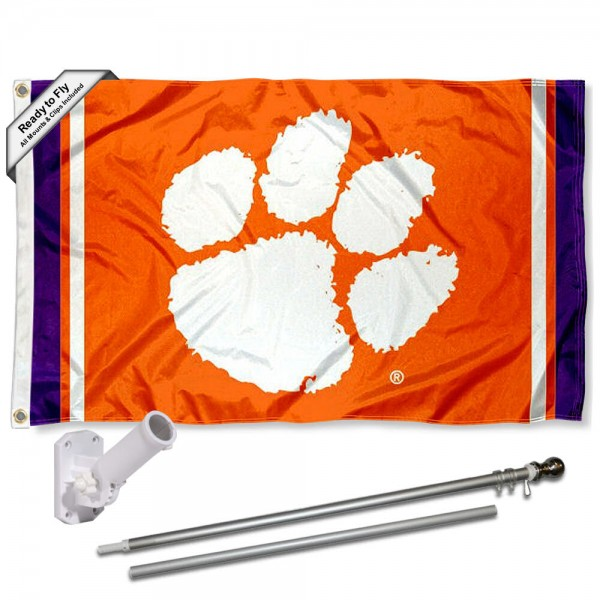Our Clemson Tigers Flag Pole and Bracket Kit includes the flag as shown and the recommended flagpole and flag bracket. The flag is made of polyester, has quad-stitched flyends, and the NCAA Licensed team logos are double sided screen printed. The flagpole and bracket are made of rust proof aluminum and includes all hardware so this kit is ready to install and fly.