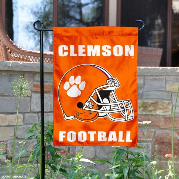 Clemson Tigers Football Helmet Garden Banner is 13x18 inches in size, is made of 2-layer polyester, screen printed Clemson University athletic logos and lettering. Available with Same Day Express Shipping, Our Clemson Tigers Football Helmet Garden Banner is officially licensed and approved by Clemson University and the NCAA.