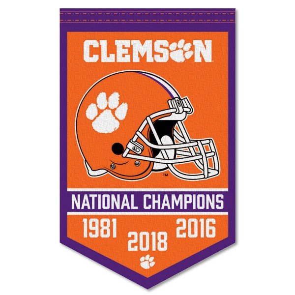 Clemson Tigers Football National Champions Banner consists of our sports dynasty year banner which measures 15x24 inches, is constructed of rigid felt, is single sided imprinted, and offers a pennant sleeve for insertion of a pennant stick, if desired. This sports banner is a unique collectible and keepsake of the legacy game and is Officially Licensed and University, School, and College Approved.