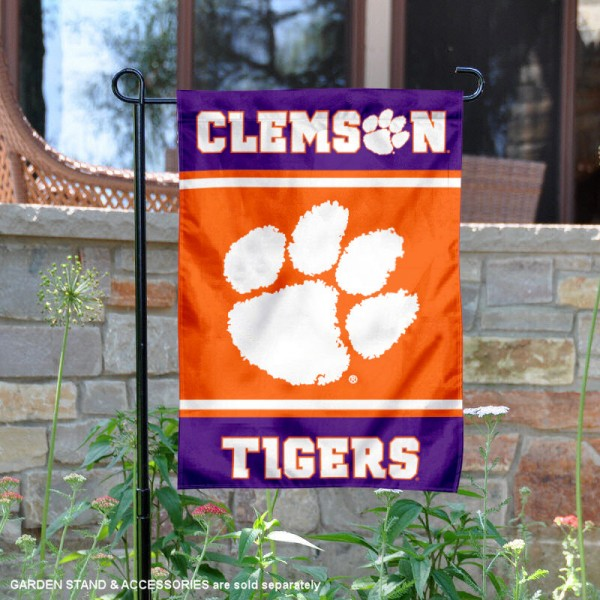 Clemson Tigers Garden Flag is 13x18 inches in size, is made of 2-layer polyester, screen printed logos and lettering. Available with Same Day Express Shipping, Our Clemson Tigers Garden Flag is officially licensed and approved by the NCAA.
