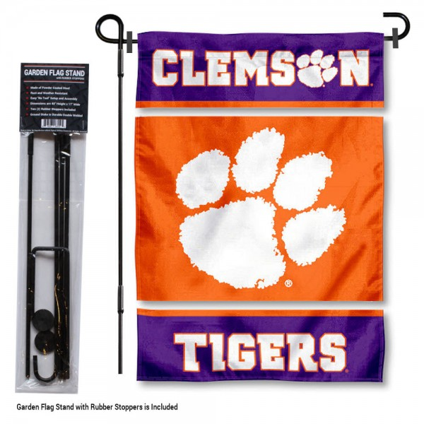 "Clemson Tigers Garden Flag and Stand kit includes our 13""x18"" garden banner which is made of 2 ply poly with liner and has screen printed licensed logos. Also, a 40""x17"" inch garden flag stand is included so your Clemson Tigers Garden Flag and Stand is ready to be displayed with no tools needed for setup. Fast Overnight Shipping is offered and the flag is Officially Licensed and Approved by the selected team."