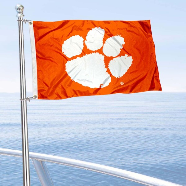 Clemson Tigers Golf Cart Flag is a small 12x18 inches, made of 2-ply polyester with quad stitched flyends, and is double-sided. Our Golf Cart Logo Flags are Officially Licensed and Approved by Clemson and NCAA.