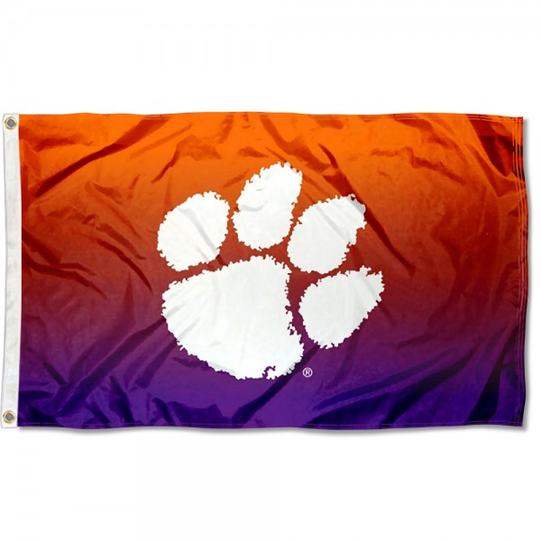 Clemson Tigers Gradient Ombre Flag measures 3x5 feet, is made of 100% polyester, offers quadruple stitched flyends, has two metal grommets, and offers screen printed NCAA team logos and insignias. Our Clemson Tigers Gradient Ombre Flag is officially licensed by the selected university and NCAA.