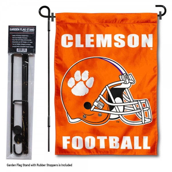 "Clemson Tigers Helmet Garden Flag and Pole Stand Mount kit includes our 13""x18"" garden banner which is made of 2 ply poly with liner and has screen printed licensed logos. Also, a 40""x17"" inch garden flag stand is included so your Clemson Tigers Helmet Garden Flag and Pole Stand Mount is ready to be displayed with no tools needed for setup. Fast Overnight Shipping is offered and the flag is Officially Licensed and Approved by the selected team."