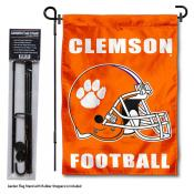Clemson Tigers Helmet Garden Flag and Pole Stand Mount