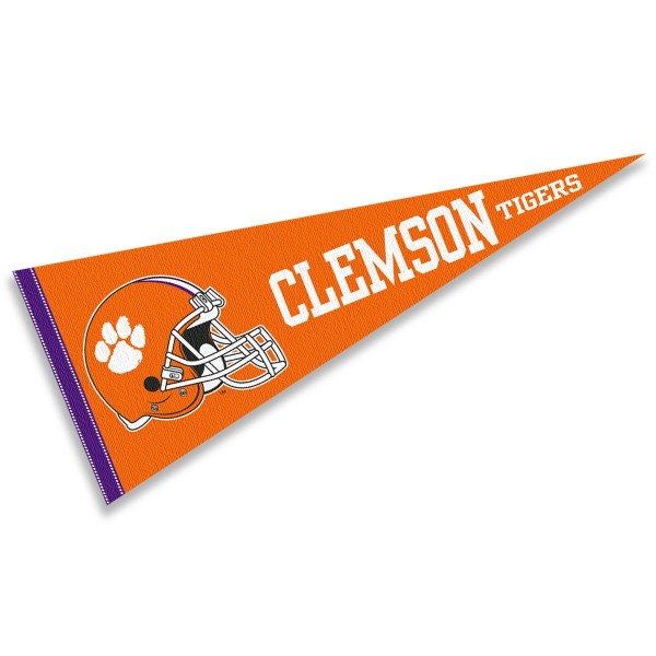 Clemson Tigers Helmet Pennant consists of our full size sports pennant which measures 12x30 inches, is constructed of felt, is single sided imprinted, and offers a pennant sleeve for insertion of a pennant stick, if desired. This Clemson Tigers Pennant Decorations is Officially Licensed by the selected university and the NCAA.
