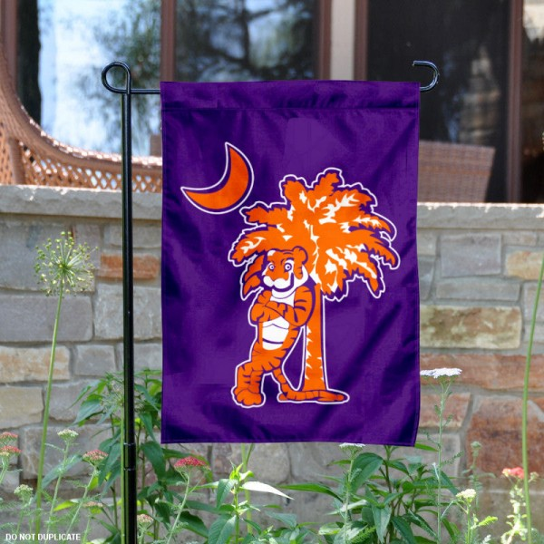 Clemson Tigers Mascot and Palmetto Garden Flag is 13x18 inches in size, is made of 2-layer polyester, screen printed university athletic logos and lettering, and is readable and viewable correctly on both sides. Available same day shipping, our Clemson Tigers Mascot and Palmetto Garden Flag is officially licensed and approved by the university and the NCAA.