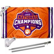 Clemson Tigers National Champions 2018 Flag Pole and Bracket Kit