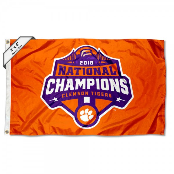 Clemson Tigers National Champions Large 4x6 Flag measures 4x6 feet, is made thick woven polyester, has quadruple stitched flyends, two metal grommets, and offers screen printed NCAA Clemson Tigers Large athletic logos and insignias. Our Clemson Tigers National Champions Large 4x6 Flag is officially licensed by Clemson Tigers and the NCAA.