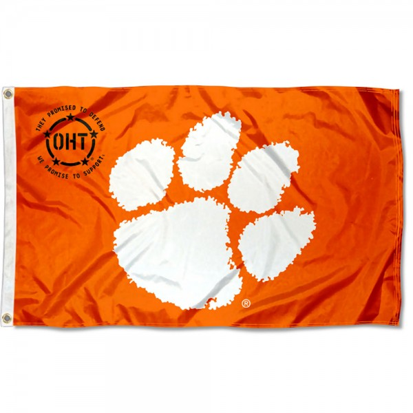 Clemson Tigers Operation Hat Trick Flag measures 3x5 feet, is made of 100% polyester, offers quadruple stitched flyends, has two metal grommets, and offers screen printed NCAA team logos and insignias. Our Clemson Tigers Operation Hat Trick Flag is officially licensed by the selected university and NCAA.