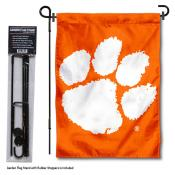 Clemson Tigers Orange Garden Flag and Stand