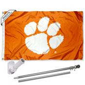 Clemson Tigers Orange Logo Flag Pole and Bracket Kit