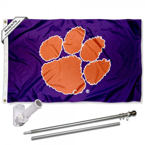 Our Clemson Tigers Purple Flag Pole and Bracket Kit includes the flag as shown and the recommended flagpole and flag bracket. The flag is made of polyester, has quad-stitched flyends, and the NCAA Licensed team logos are double sided screen printed. The flagpole and bracket are made of rust proof aluminum and includes all hardware so this kit is ready to install and fly.